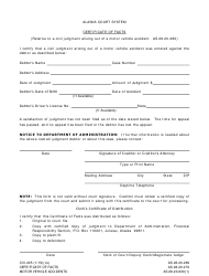 Form CIV-405 Certificate of Facts - Motor Vehicle Accidents - Alaska