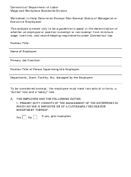 """""""Worksheet to Help Determine Exempt/Non-exempt Status of Managerial or Executive Employees"""" - Connecticut"""