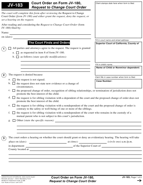 Form JV-183  Printable Pdf