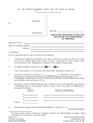 Form CIV-526 Employer's Response to Writ of Execution for Garnishment of Earnings - Alaska