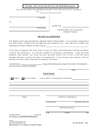 Form CIV-516 Response to Claim of Exemptions - Alaska