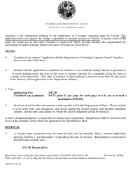 """Form CR2E017 """"Application for the Registration of a Foreign Corporate Name"""" - Florida"""