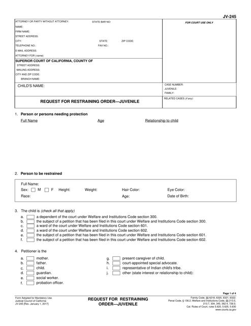 Form JV-245 Fillable Pdf