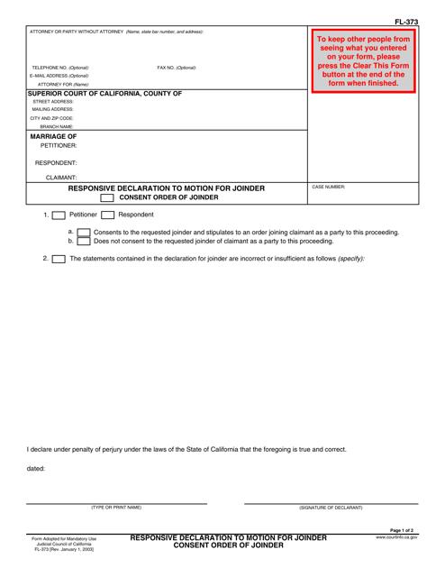 Form FL-373  Printable Pdf