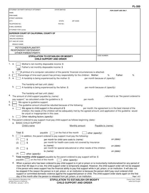 Form FL-350 Fillable Pdf