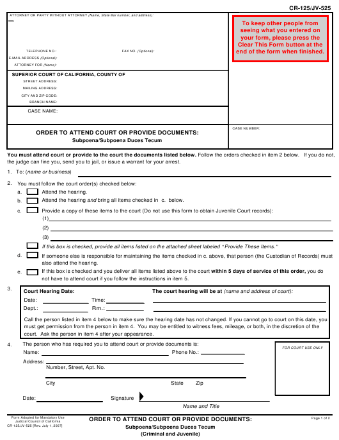 Form CR-125 Fillable Pdf