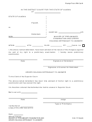 "Form CR-310 ""Waiver of Preliminary Examination and Order Holding Defendant to Answer"" - Alaska"