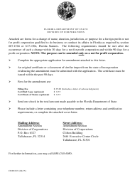 """Form CR2E019 """"Application by Foreign Profit Corporation to File Amendment to Application for Authorization to Transact Business in Florida"""" - Florida"""