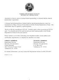 "Form INHS32 ""Notice of Cancellation for Foreign Limited Partnership or Limited Liability Limited Partnership"" - Florida"