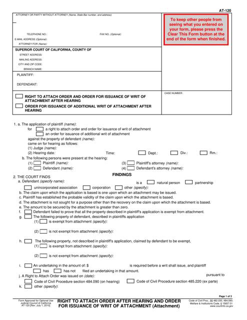 Form AT-120 Fillable Pdf