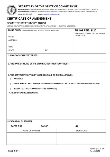 Form STA-1-1.0  Printable Pdf