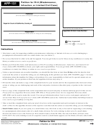 Form APP-151 Petition for Writ (Misdemeanor, Infraction, or Limited Civil Case) - California