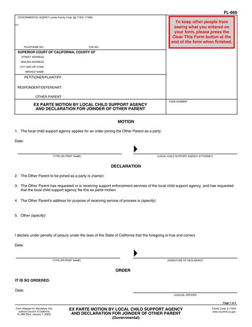 Form FL-660  Printable Pdf