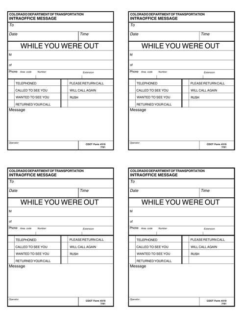CDOT Form 319  Printable Pdf