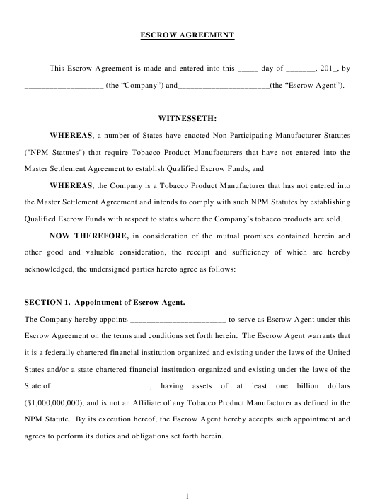 """Escrow Agreement Form"" - Delaware Download Pdf"