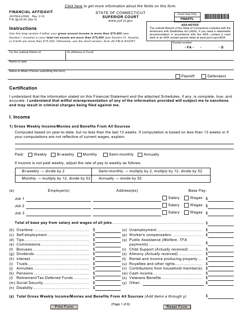 Form JD-FM-6-LONG  Printable Pdf
