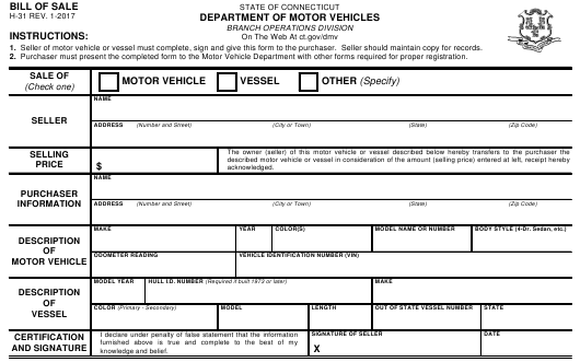 Form H 31 Download Fillable Pdf Vehicle Boat Bill Of Sale