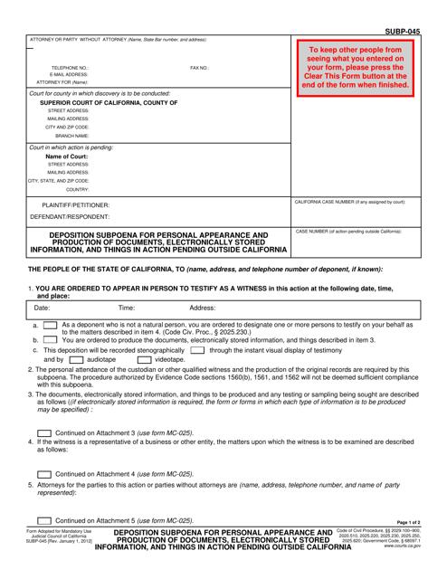 Form SUBP-045 Fillable Pdf