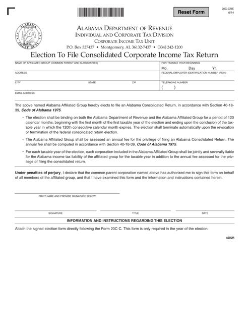 Form 20C-CRE  Printable Pdf