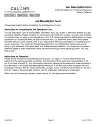 Form CALHR 651 Job Description Form - California