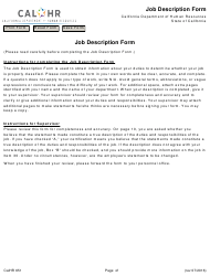 Form CALHR 651 Job Description Form - California