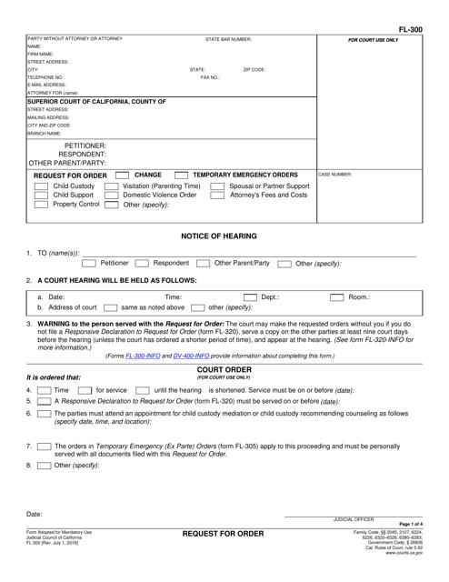Form FL-300  Printable Pdf