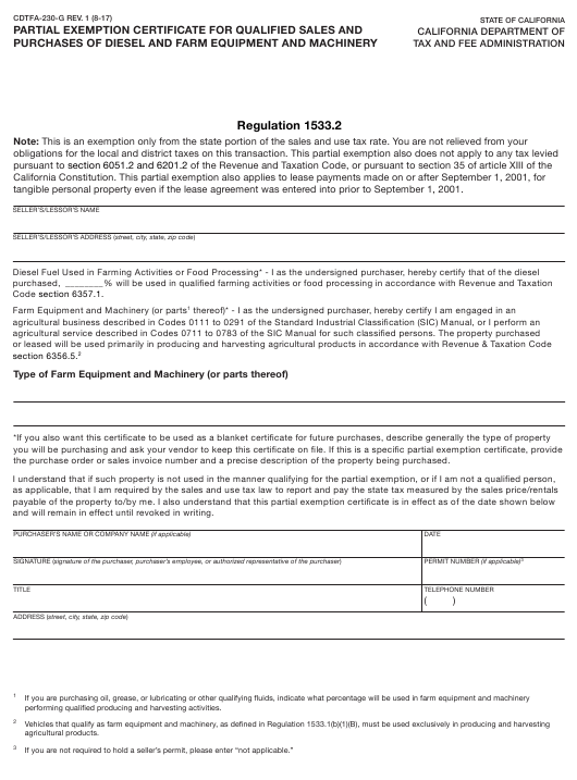 Form CDTFA-230-G  Printable Pdf