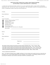 "Form CDPH270 ""Certification Form for Clinics and Freestanding Outpatient Clinic Services of a Hospital"" - California"