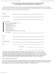 Form CDPH 270 Certification Form for Clinics and Freestanding Outpatient Clinic Services of a Hospital - California