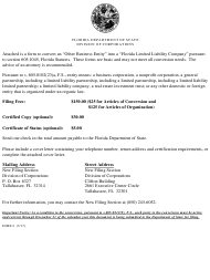 """Form INHS11 """"Articles of Conversion for '""""other Business Entity'"""" Into Florida Limited Liability Company"""" - Florida"""