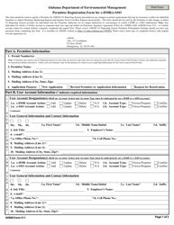 ADEM Form 511 Permitee Registration Form for E-Dmr/E-Sso - Alabama