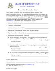 License Cancel/Termination Form - Connecticut