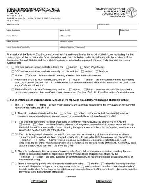 Form JD-JM-31  Printable Pdf