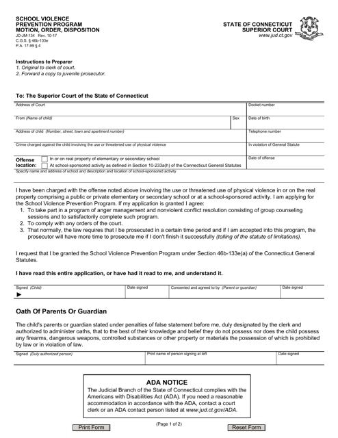 Form JD-JM-134  Printable Pdf