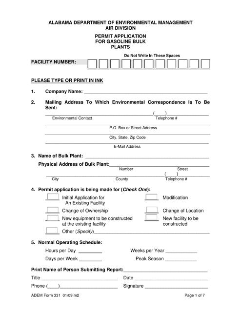 ADEM Form 331 Fillable Pdf