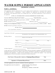 "Form 489 ""Water Supply Permit Application (Modification)"" - Alabama"