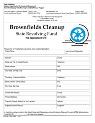 ADEM Form 542 Brownfields Cleanup State Revolving Fund Pre-application Form - Alabama