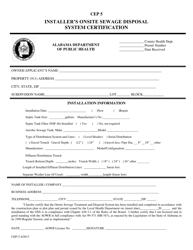 "Form CEP-5 ""Installer's Onsite Sewage Disposal System Certification"" - Alabama"