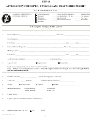 "Form CEP-11 ""Application for Septic Tank/Grease Trap Series Permit"" - Alabama"