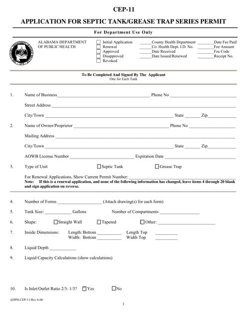 Form CEP-11  Printable Pdf