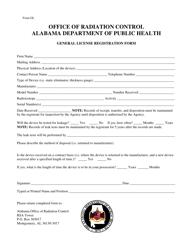 Form GL General License Registration Form - Alabama