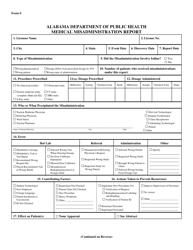 Form S Medical Misadministration Report - Alabama