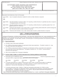 Form RM-HU(AUT) Authorized User Training and Experience and Preceptor Attestation - Alabama