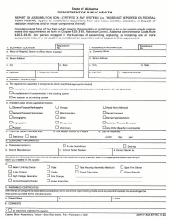 "Form ADPH-F-RAD-67 ""Report of Assembly of Non-certified X-Ray Systems (I.e., Those Not Reported on Federal Form Fd2579)"" - Alabama"