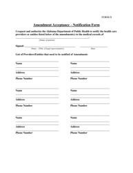 Form D Amendment Acceptance - Notification Form - Alabama