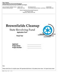 ADEM Form 543 Brownfields Cleanup State Revolving Fund Application Form - Alabama