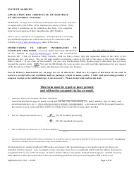 Application for Certificate of Existence of Registered Entities - Alabama