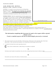 Name Reservation Renewal Request Form (Domestic or Foreign) - Alabama