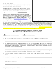 Foreign Corporation (Business or Non-profit) Application for Registration - Alabama