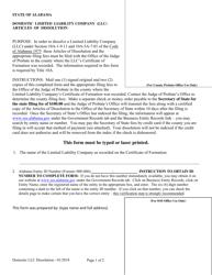 Domestic Limited Liability Company (Llc) Articles of Dissolution - Alabama